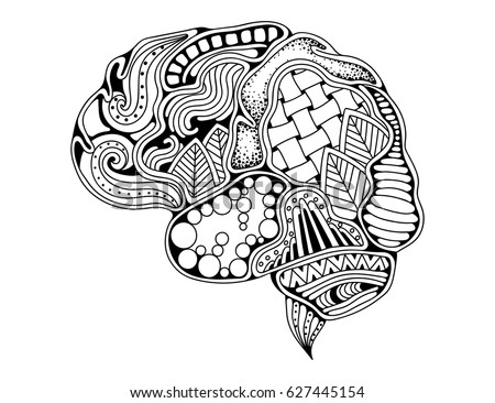 Human Brain Doodle Decorative Curves Creative Mind Learning And Design Adult Anti Stress