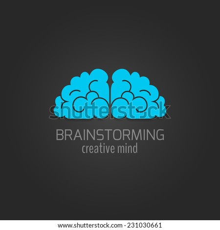 Human brain flat icon brainstorming creative mind concept isolated on dark background vector illustration - stock vector