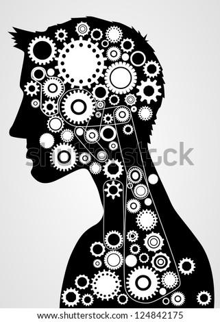 Human brain gears - stock vector