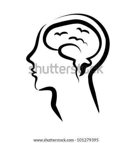 human brain in a silhouette head, vector illustration - stock vector