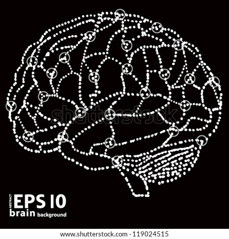 human brain in dots style. vector illustration - stock vector