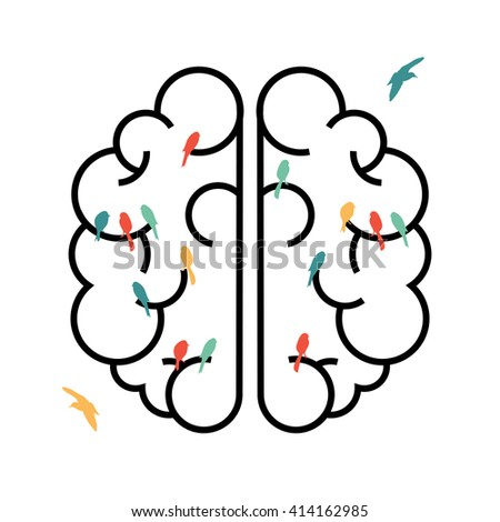 Human brain in simple line art style with colorful bird shapes inside, free your creative imagination concept design.EPS10 vector. - stock vector