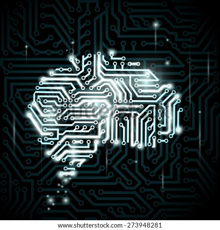 Human brain in the form of circuits. Vector image. - stock vector