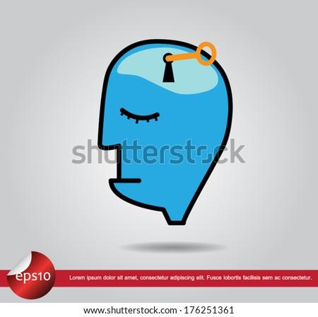 human brain key vector icon - stock vector