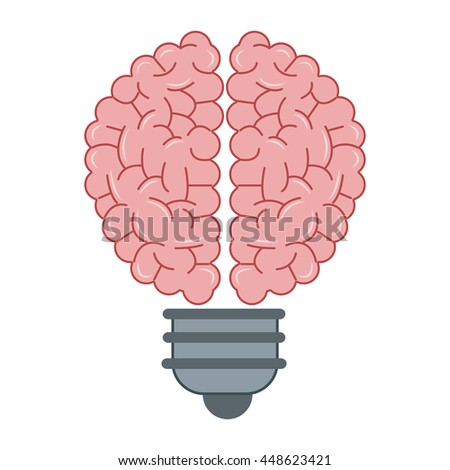 human brain lightbulb icon - stock vector