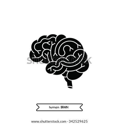 Human brain logo. Vector logo of human brain side view. Brain outline logo for medical design or education. Vector logo brain isolated on white. Vector human logo brain. - stock vector
