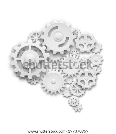 Human brain made of gears. Isolated on white. EOS10 vector. - stock vector