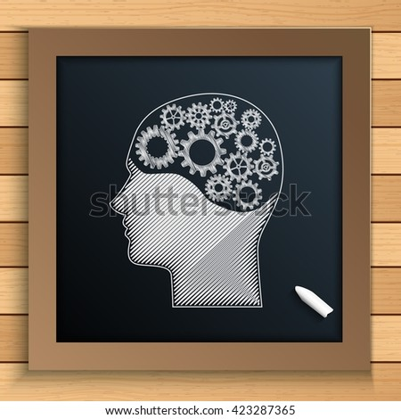 Human brain mechanism with cogs and gears written by chalk on blackboard.Vector - stock vector