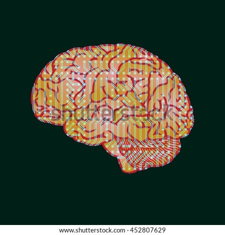 Human brain on background of electrical circuit of computer board device.