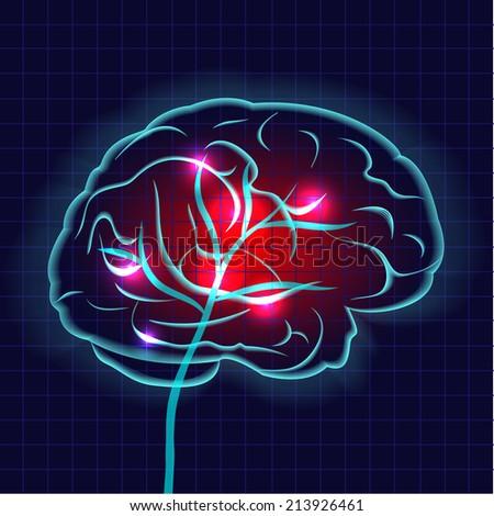 Human brain on dark background vector illustration - stock vector