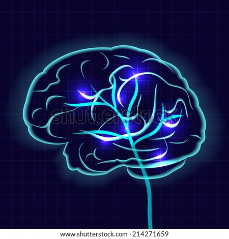 Human brain on dark background vector illustration - stock vector