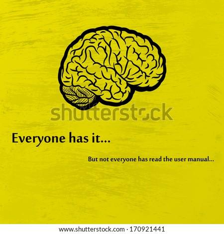 Human brain on yellow background. eps10 - stock vector