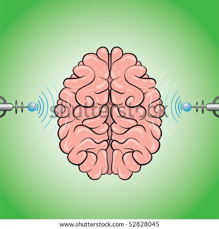 human brain scanning in progress on that image with brain over green background (AI8 with gradient) - stock vector
