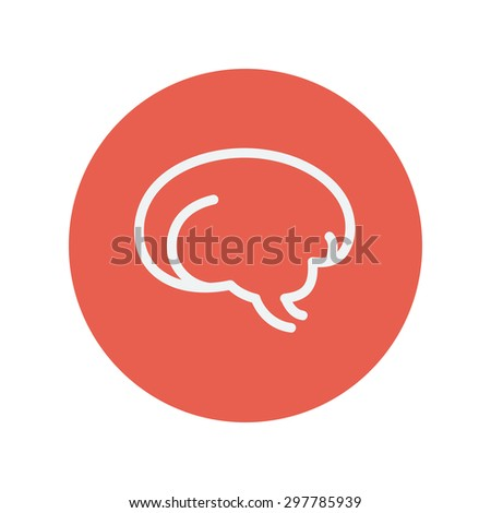 Human brain thin line icon for web and mobile minimalistic flat design. Vector white icon inside the red circle - stock vector