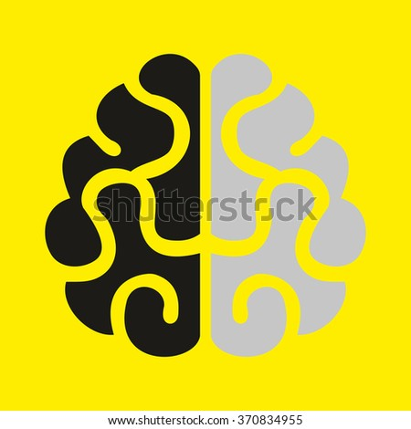 Human brain vector image on yellow background - stock vector