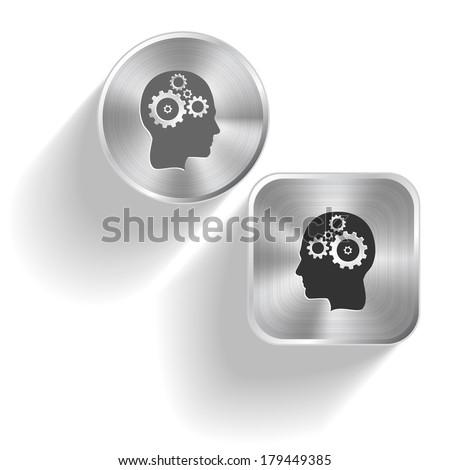 Human brain. Vector set steel buttons - stock vector