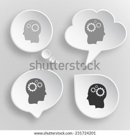 Human brain. White flat vector buttons on gray background. - stock vector