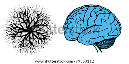 human brain with branching. vector illustration