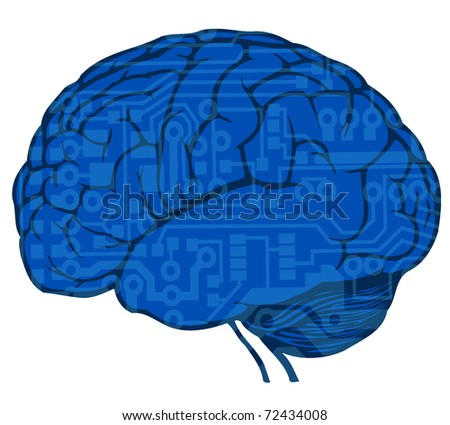 human brain with circuit board draw - stock vector