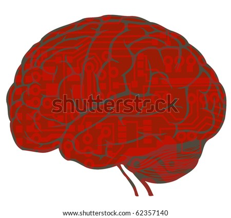 human brain with circuit board draw. vector. EPS10 - stock vector