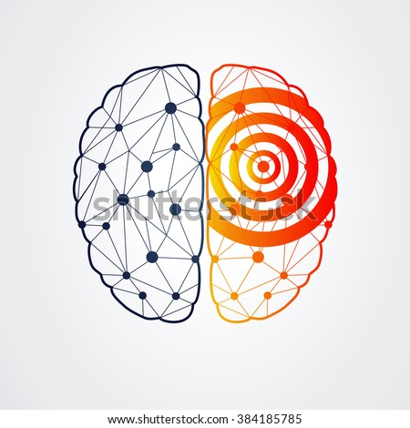 Human brain with epilepsy activity in one side, vector illustration - stock vector