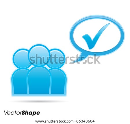 Human businessman figurines thinking with check mark inside a communication bubble, web application icon, approved idea concept, vector illustration