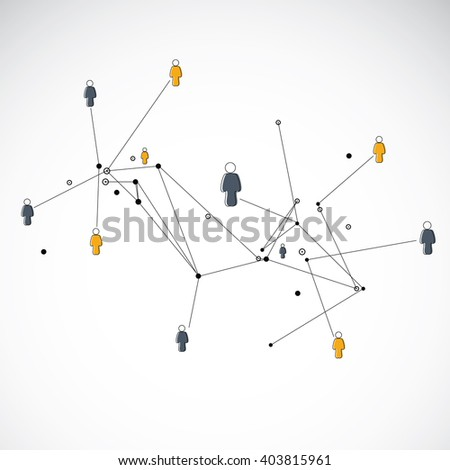 Human connection. Abstract human connection. Human connection in geometric line. - stock vector