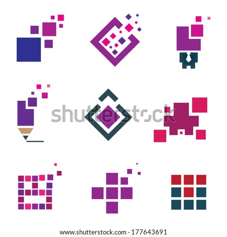 Human creativity idea building block cube material experience logo icon set pixel - stock vector
