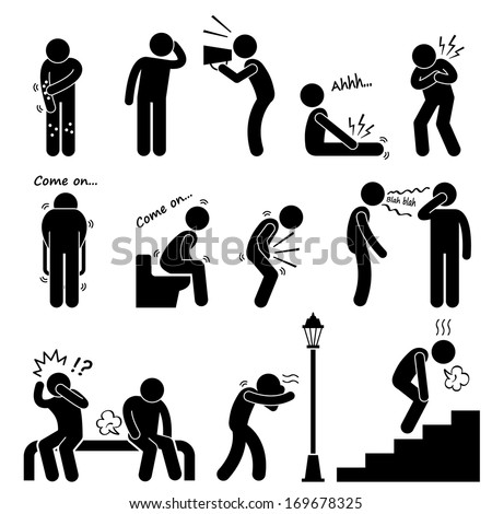 Human Disease Illness Sickness Symptom Syndrome Signs Stick Figure Pictogram Icon