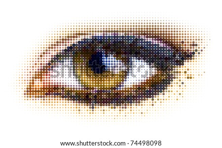 human dots eye. vector illustration. - stock vector
