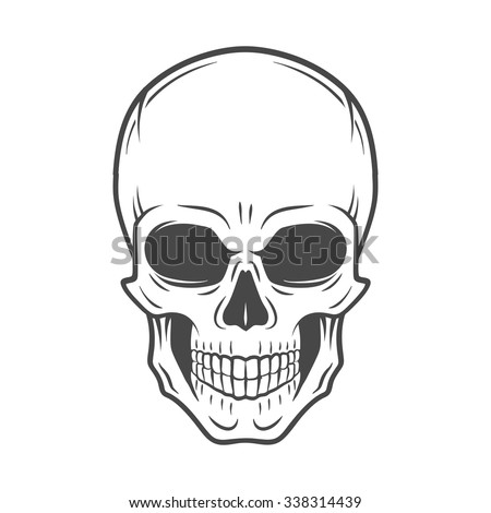 Human evil skull vector. Jolly Roger logo template. death t-shirt design. Pirate insignia concept. Poison icon illustration. - stock vector