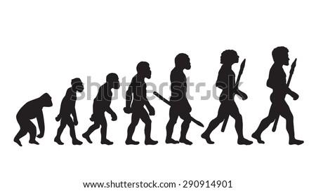 Human evolution. Future. Human Evolution Silhouettes Isolated vector. Civilization. Neanderthal. Progress Darwin and evolution. Darwinian future. Theory Darwin evolution. - stock vector