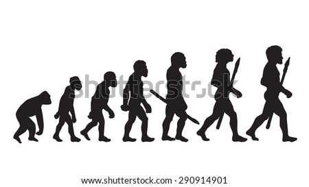 Human evolution silhouettes. Historical illustrations. Isolated vector . - stock vector