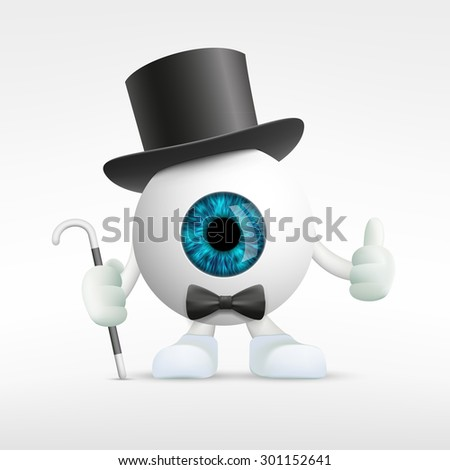 Human eye in a hat. Vector Image Stock. - stock vector