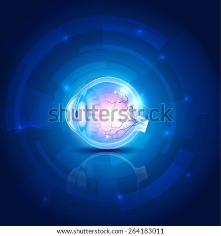 Human eye vision, abstract blue technology background - stock vector