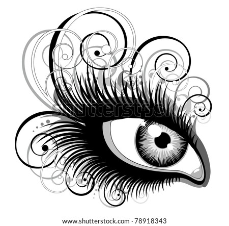 Human eye with ornament elements. Vector illustration. - stock vector