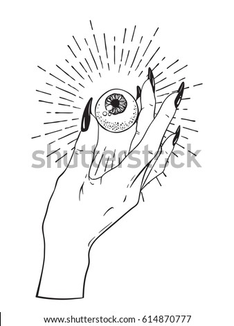 Human eyeball in female hand isolated sticker print or blackwork tattoo hand drawn vector