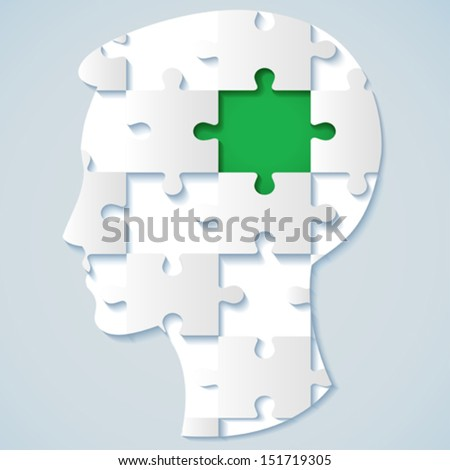 Human face in the form of a puzzle with a green mid. business concept - stock vector