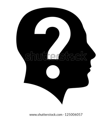 Human face  with question mark. Illustration on white background