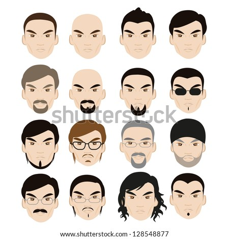 Human Faces With Different Style Isolated On White Background - Set - Vector Illustration, Graphic Design Editable For Your Design