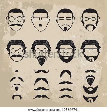 Human Faces With Various Additions Set - Isolated On Brown Background - Vector Illustration, Graphic Design Editable For Your Design - stock vector