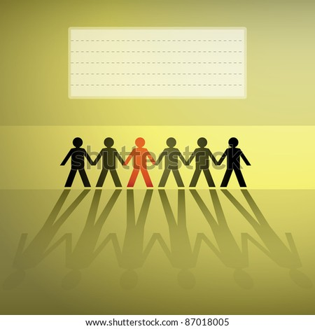 human figures in a row, background - illustration - stock vector