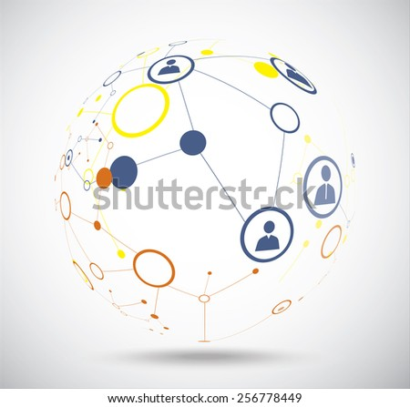 Human globe connections network design, vector illustration - stock vector
