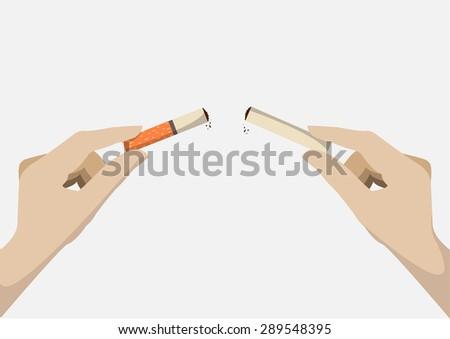 Human Hand Breaking Cigarette. - stock vector