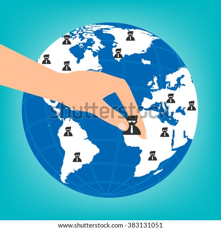 Human hand choosing the right personal on globe for international best position.Vector illustration recruitment and job search concept. - stock vector