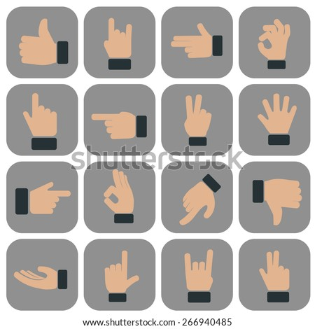Human Hand collection, different hands, gestures, signals and signs. Vector icon set - stock vector