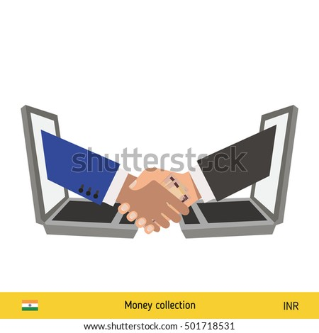 Human hand gives money to another person vector illustration. Indian rupee banknote.