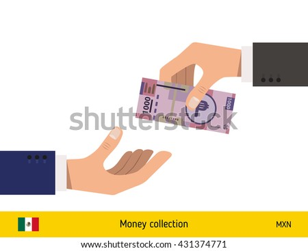 Human hand gives money to another person vector illustration. Mexican peso banknote.  - stock vector
