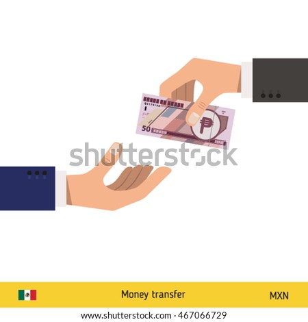 Human hand gives money to another person vector illustration. Mexican peso banknote.