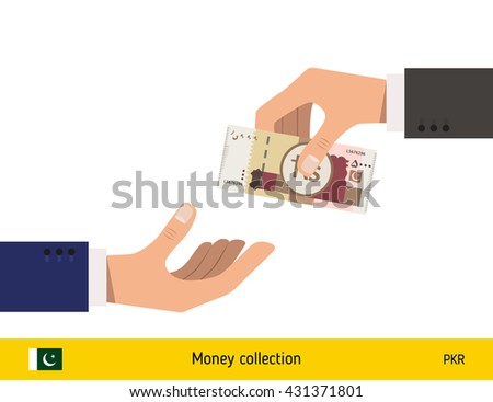 Human hand gives money to another person vector illustration. Pakistani rupee banknote.  - stock vector